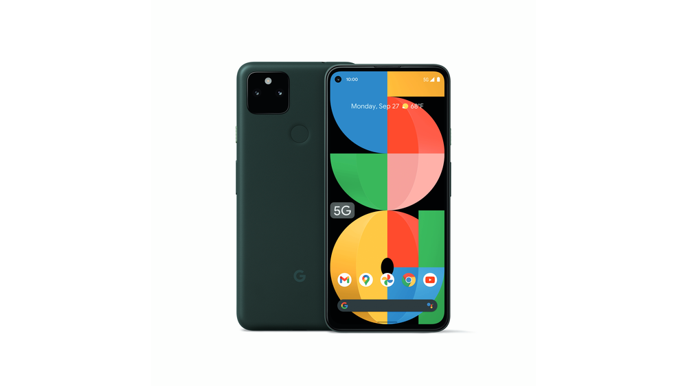 A front and back view of the new Pixel 5a 5G phone from Google.