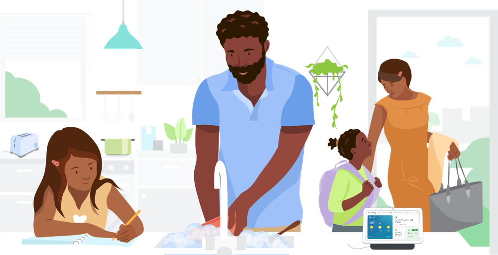 Article's hero image which depicts a family going preparing for the school day