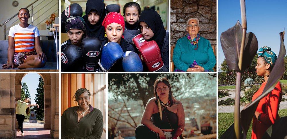 Viele Fotos von Frauen weltweit.