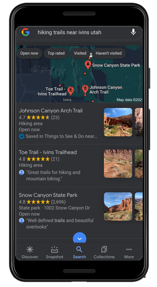 A photo of a search for hiking trails in Google Maps