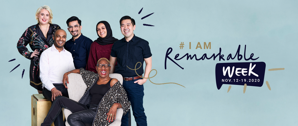 A group of people smiling with a background reading #IamRemarkable Week