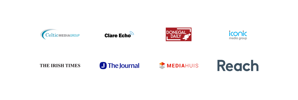 This image shows logos for some of our News Showcase partners in Ireland including Celtic Media Group, Clare Echo, Donegal Daily, Iconic Media Group, The Irish Times, The Journal and Reach