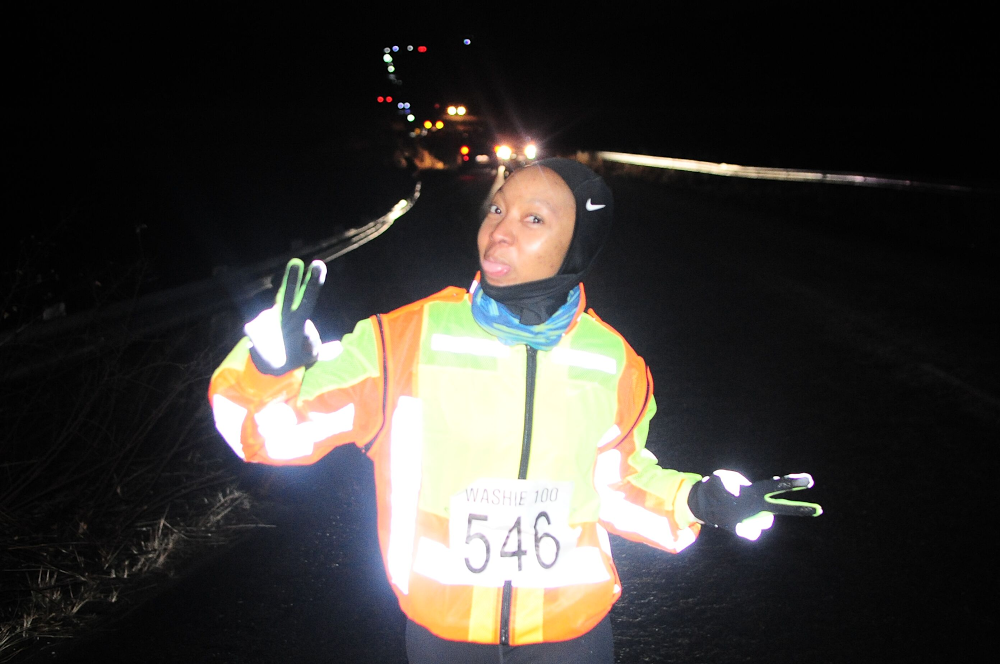 Zanele running the Washie 100 Miler ultramarathon.