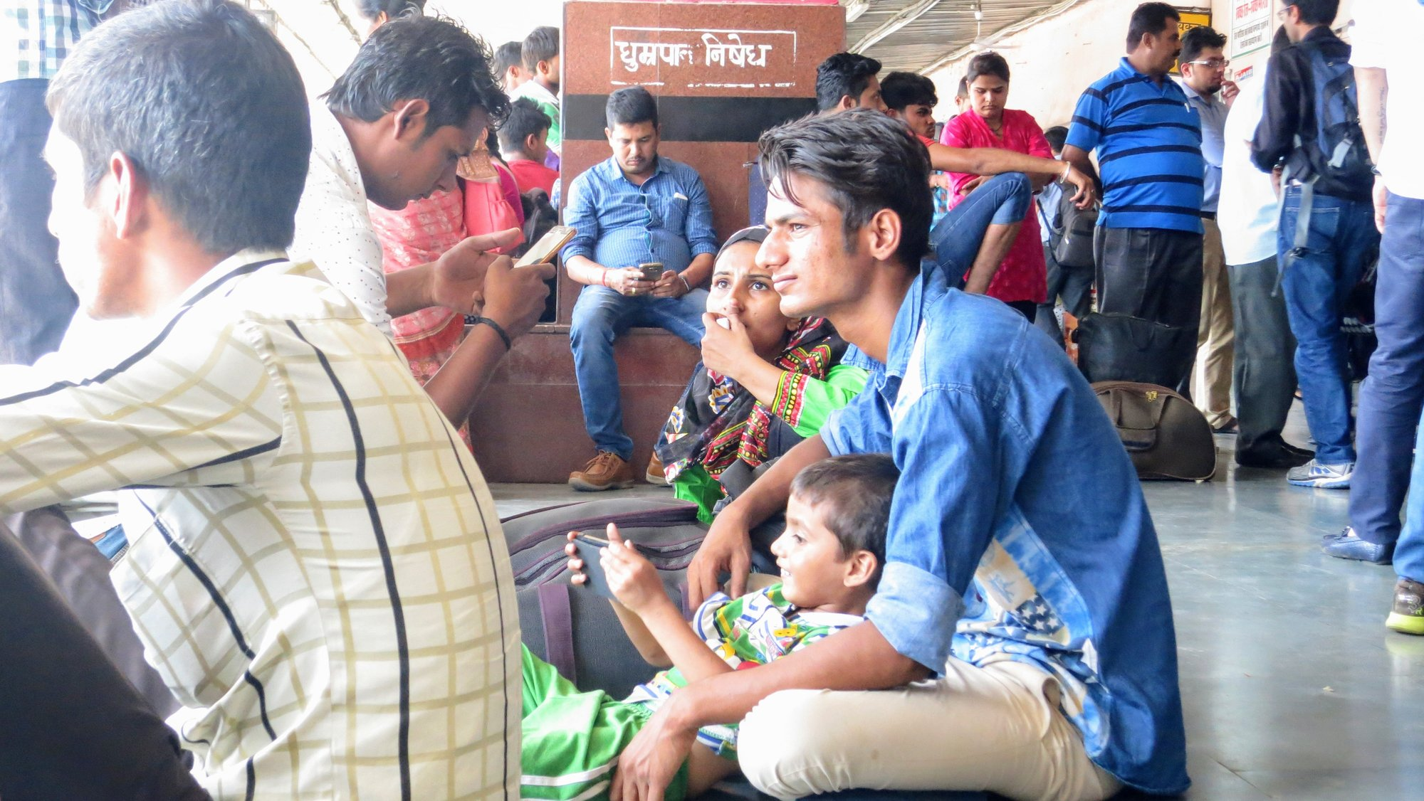 Family waiting at Jaipur station