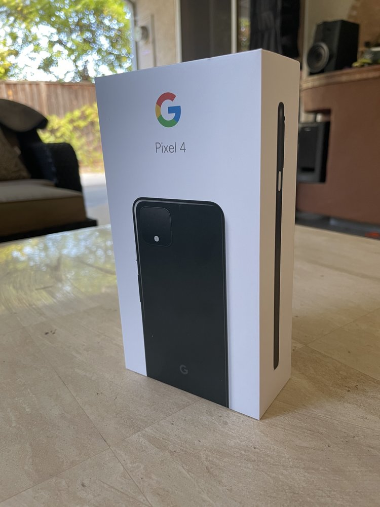 Pixel 4 box sitting on a table indoors.