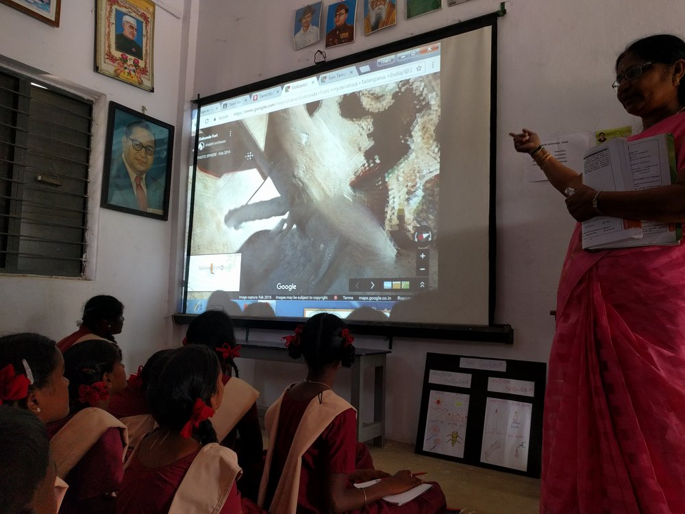The  India Literacy Project uses Google Earth to build interactive content for rural classrooms