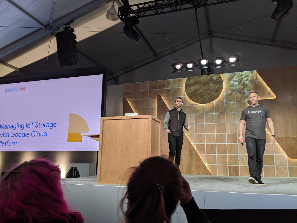 Billy Jacobson (left) presenting at I/O 2019.