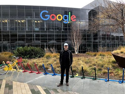 Sandro in front of Google sign in Mountain View.