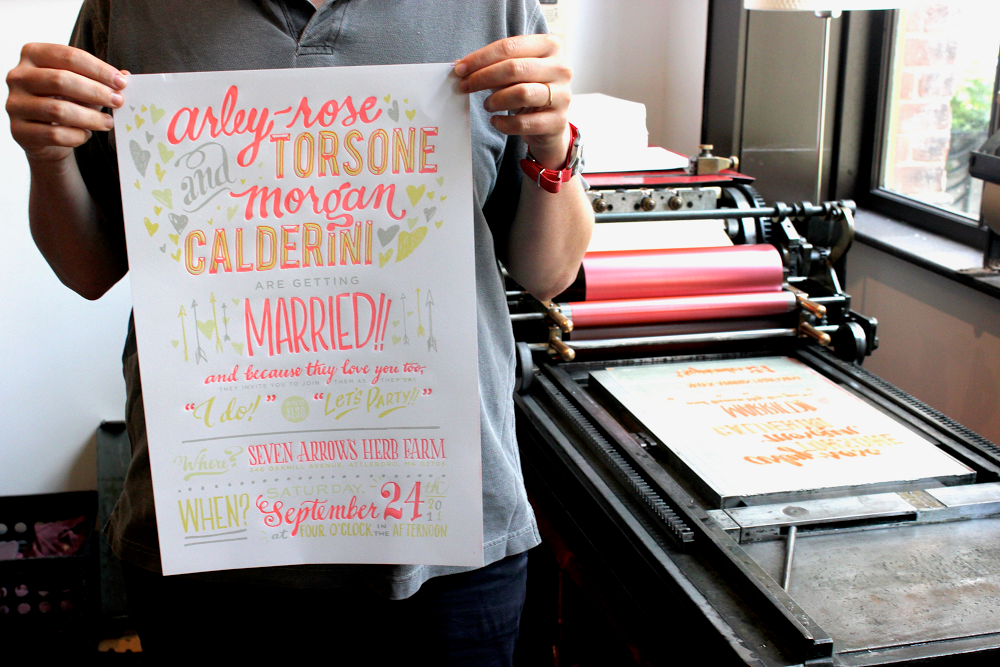 Ladyfingers Letterpress wedding invitation