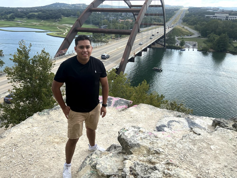 Tony standing in front of the 360 bridge in Austin.