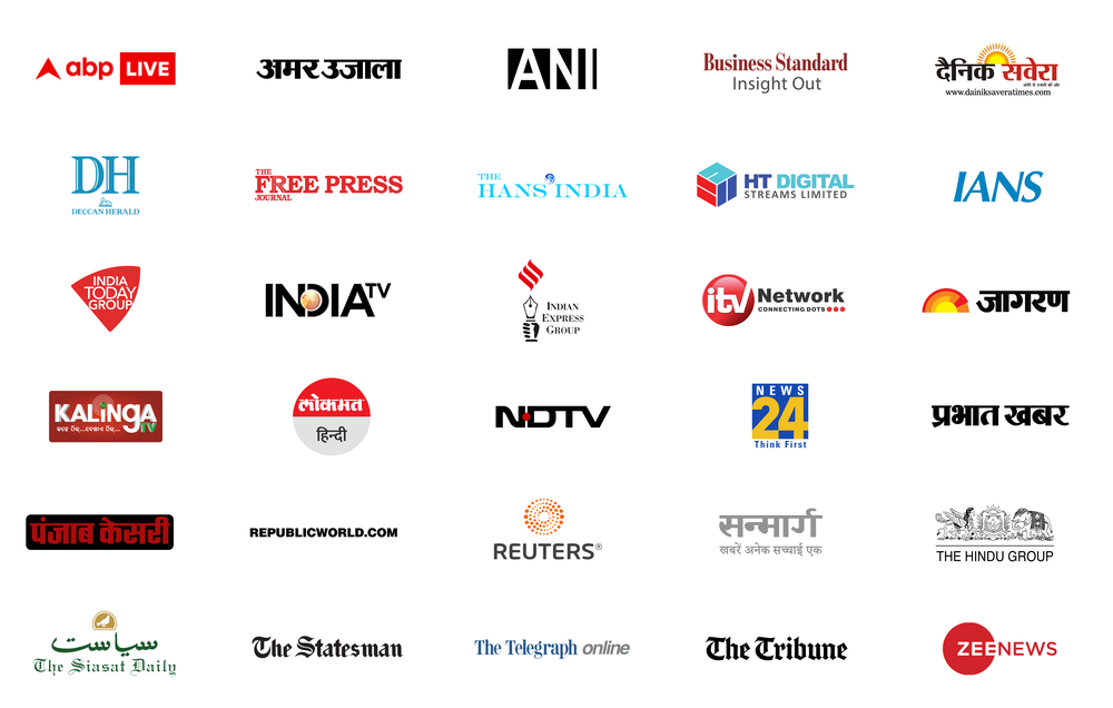A image showing logos for our current partners for News Showcase in India