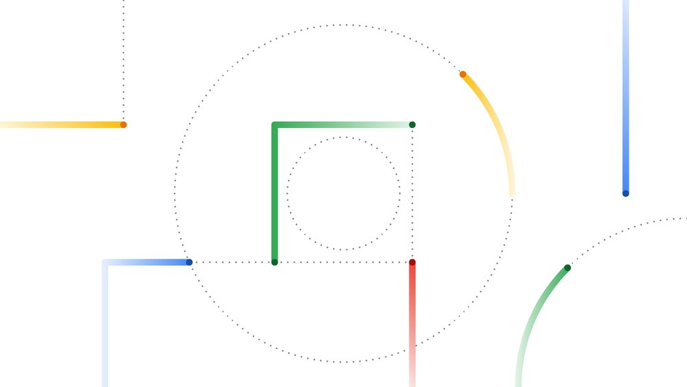 Several blue, yellow, green and red colored lines on a white background, going in different directions