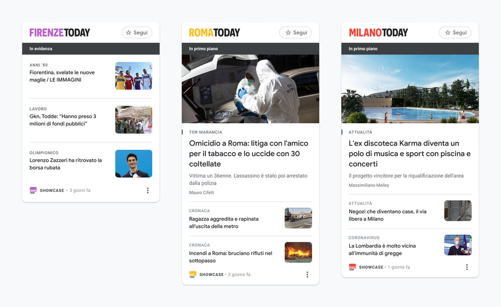 This image shows examples of News Showcase panels from Italian publishers Firenze Today, Roma Today, and Milano Today