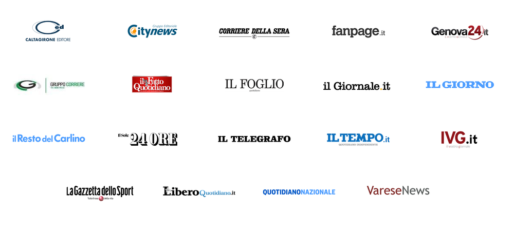 An image showing the logos of some of the Italian News Showcase publisher partners