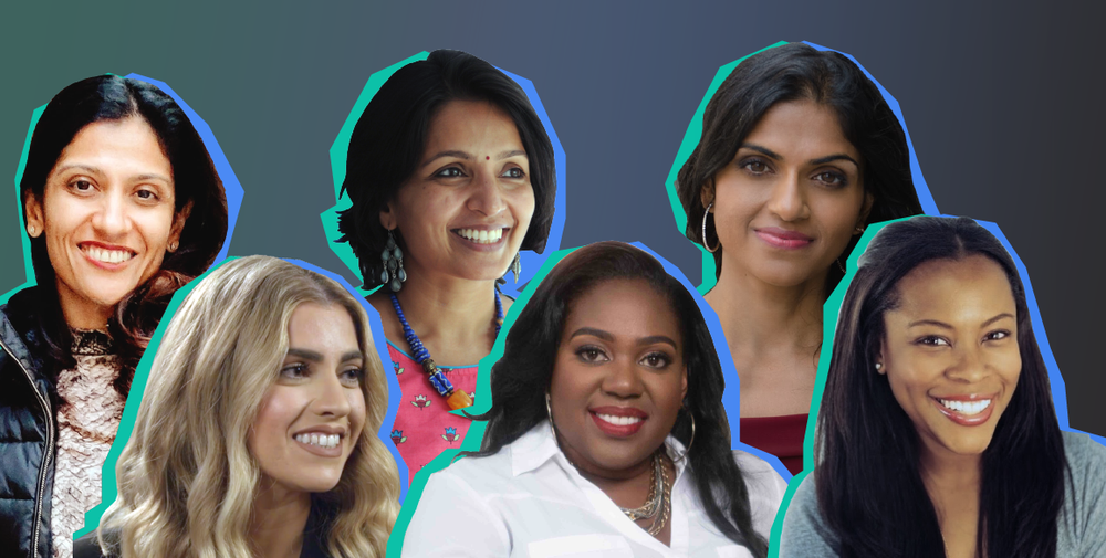 Six women founders on a green and blue background