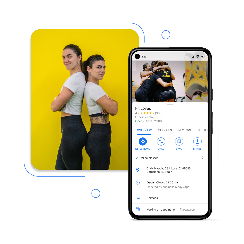 photo of two of the owners of Fit Lovas, alongside a screenshot of their Business Profile