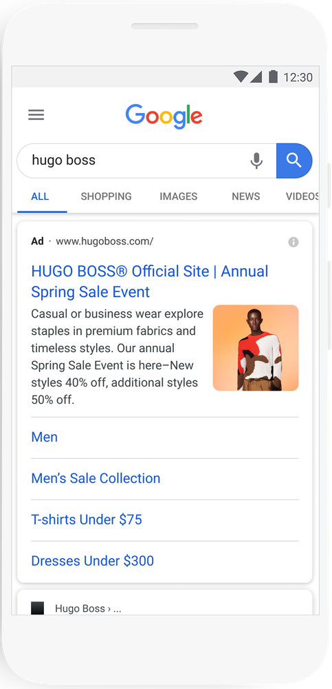 Die Bilder-Extension in den Search Ads, Beispiel von Hugo Boss