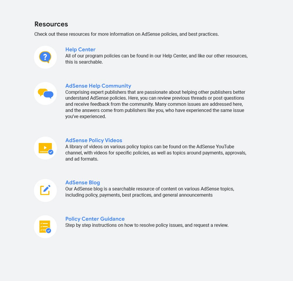 AdSense policy resources