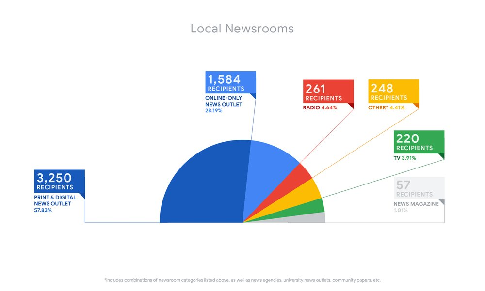 An infographic showing the breakdown of types of newsrooms funded: 57.83 percent print and digital news outlets, 28.19% online-only news outlets, 4.64% radio, 4.41% other, 3.91% TV and 1.01% news magazines.