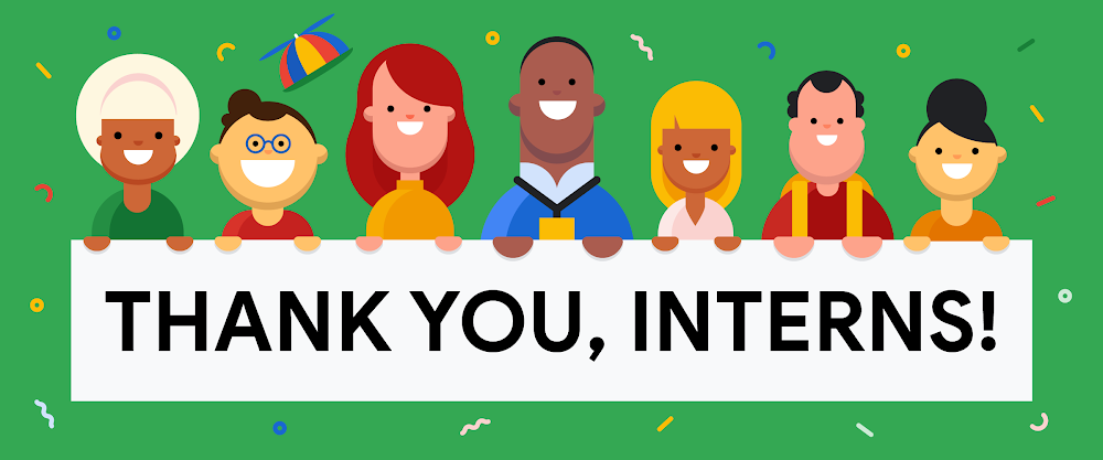 """Illustration that reads, """"Thank you, interns!"""""""
