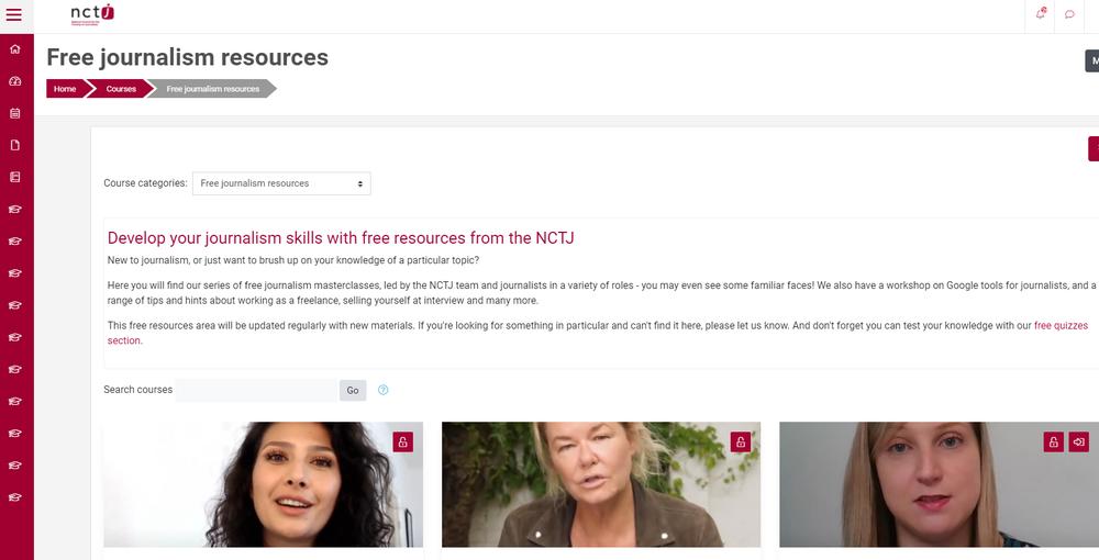 The Journalism Skills Academy website