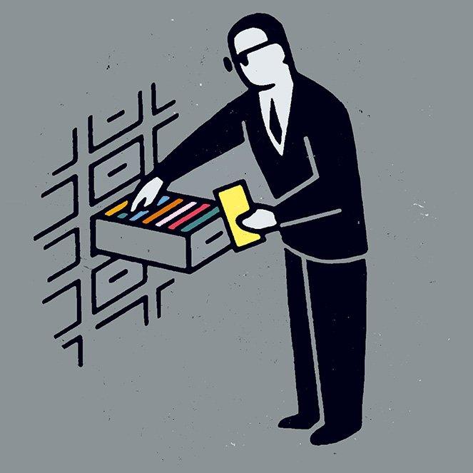 Ein gezeichnetes Bild von einem Mann, der Akten durchsucht