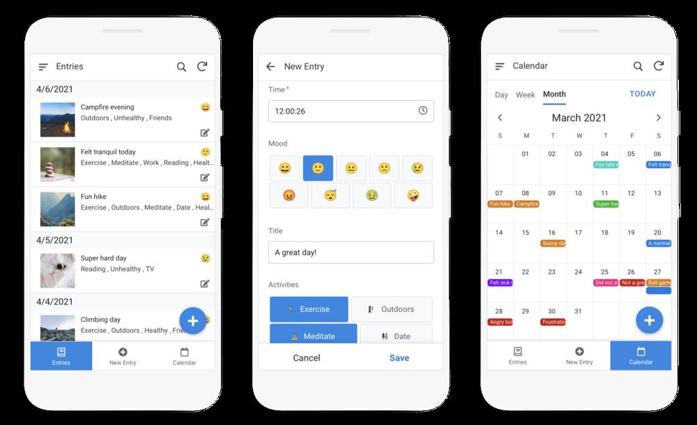 Phone screenshots showing a custom journaling app created in AppSheet.