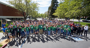 Students and volunteers at Google's Tech Day 2019.