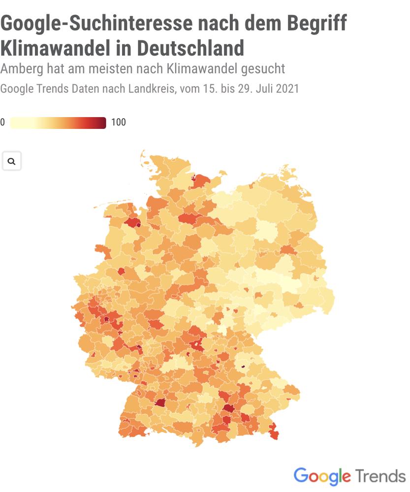 Eine Deutschlandkarte zeigt das Suchinteresse nach Klimawandel pro Region