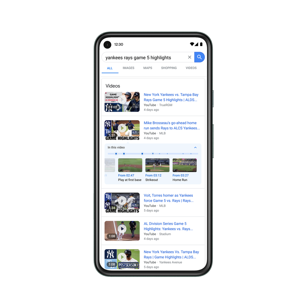 Video search result baseball highlights