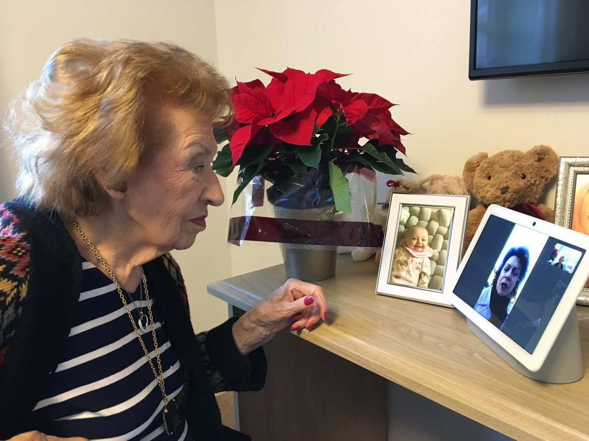 Lambwood Heights resident Winne Mulgrew video calls with daughter Margaret