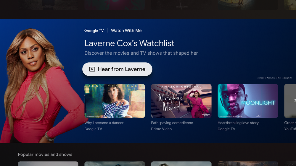 Google TV showing Watch With Me page with Laverne Cox's watchlist.