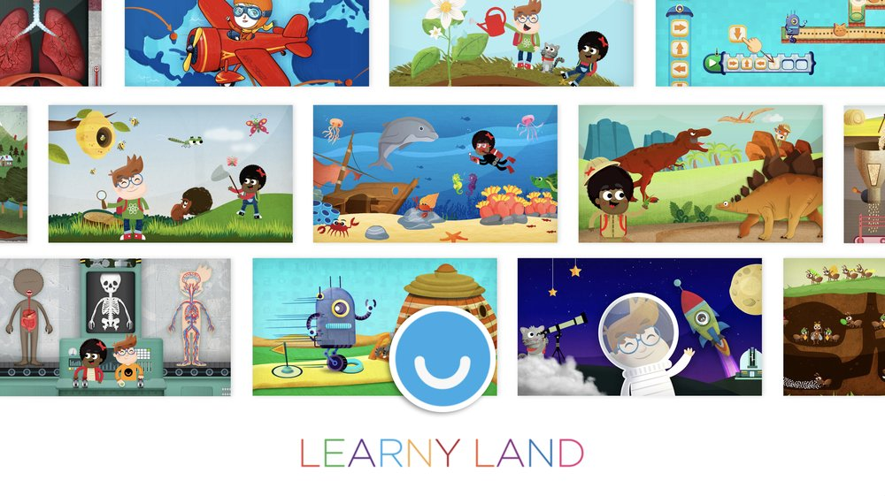 Learny Land collection of 14 educational games including Extraordinary Women, My Green City, What Were Dinosaurs Like?, What's In The Oceans?, Code the Robot. Save the Cat, and more.