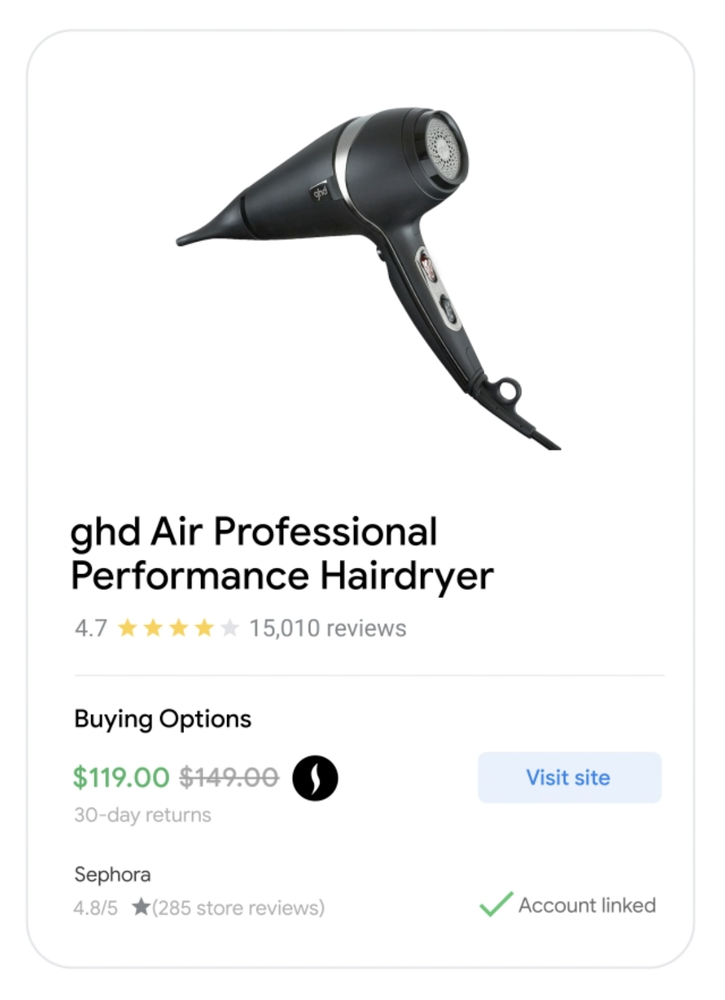 A listing for a hair dryer at Sephora, showing a lower price and customer reviews.