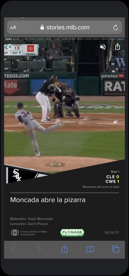 Screenshot of a MLB Web Story in Spanish