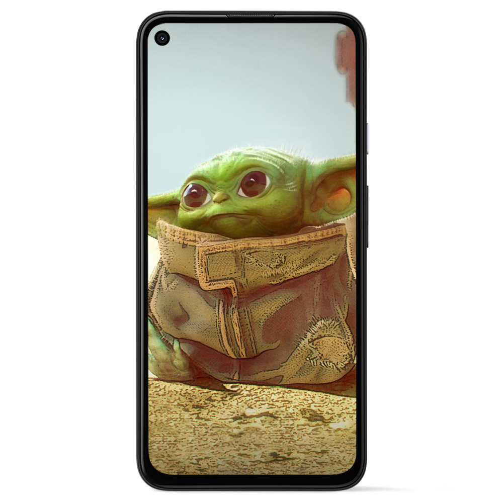Image showing Baby Yoda on the screen of a Pixel phone.
