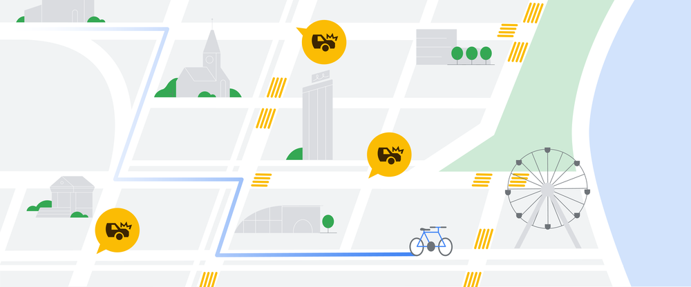 An illustration of a map showing alerts for car crashes and details of streets, like crosswalks.