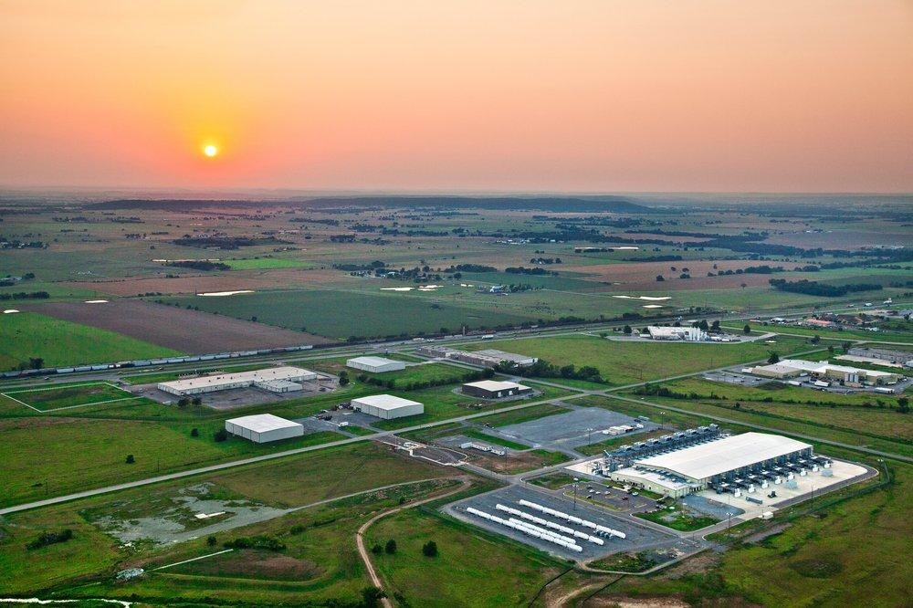 An overhead photo of Google's Oklahoma data center at sunset