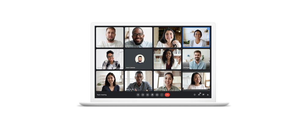 Google Meet video meeting with 12-person tile view.