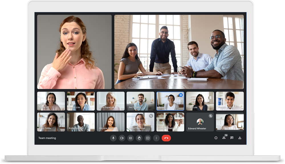 Two speakers pinned during a 16-tile video meeting.