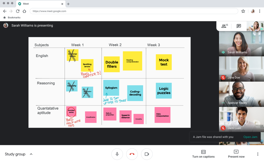 Whiteboard from anywhere with Jamboard integration in Meet