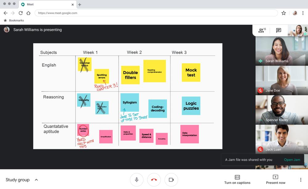 Image of Jamboard in Google Meet