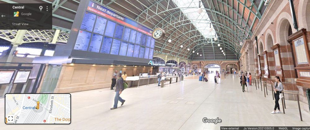 Street View imagery of the Grand Concourse entrance at Central Station, Sydney