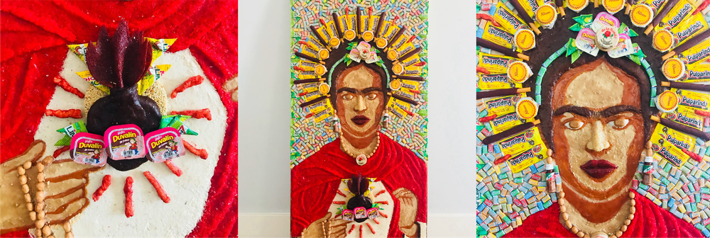 Three images of Frida Kahlo made entirely of candy