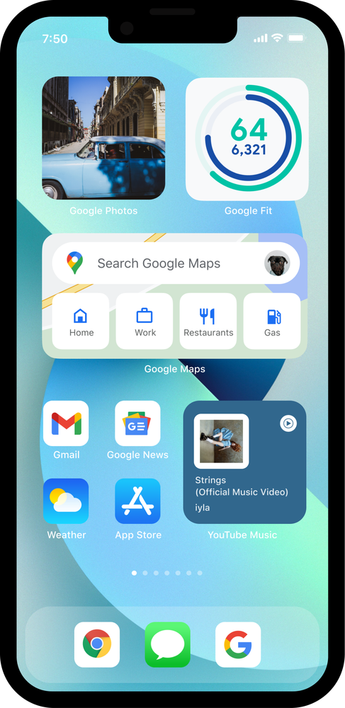 iPhone 13 showing Google Maps, Google Fit, YouTube Music and Google Photos widgets.