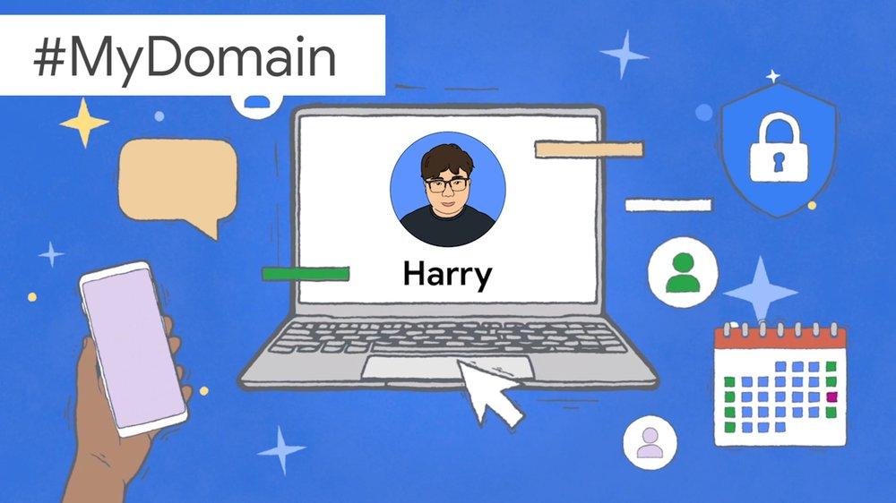An illustration showing Harry's face and name on a laptop screen, surrounded by images symbolizing productivity.