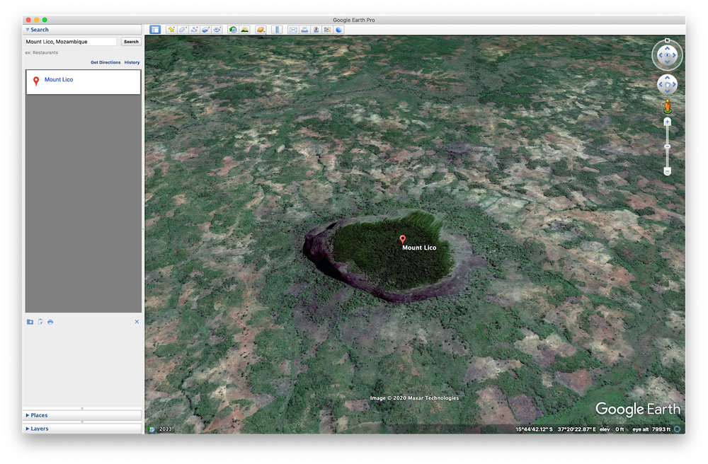 Mount Lico in Google Earth
