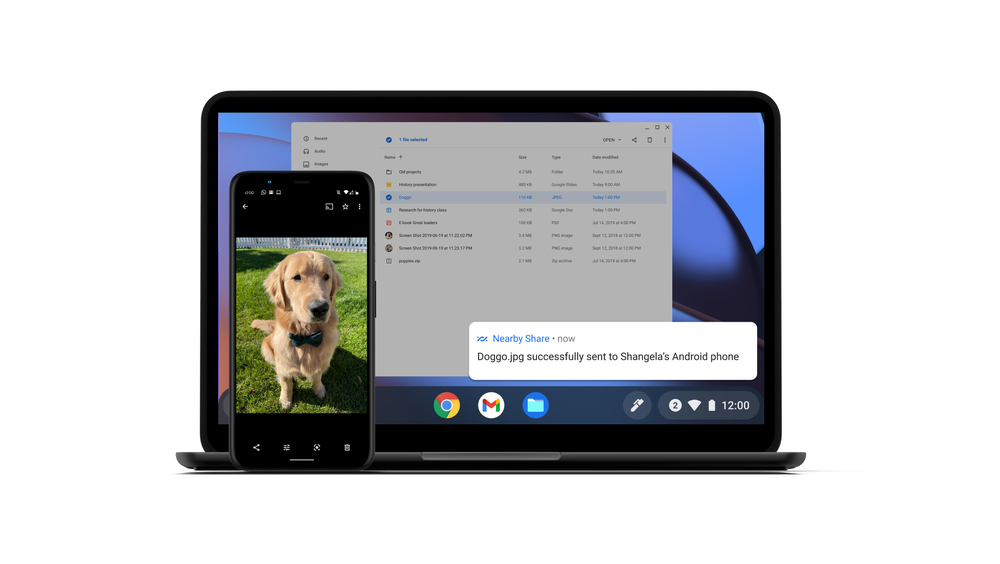 """An image of a Golden Retriever called """"Doggo"""" is shared from a Chromebook to a nearby Android phone."""