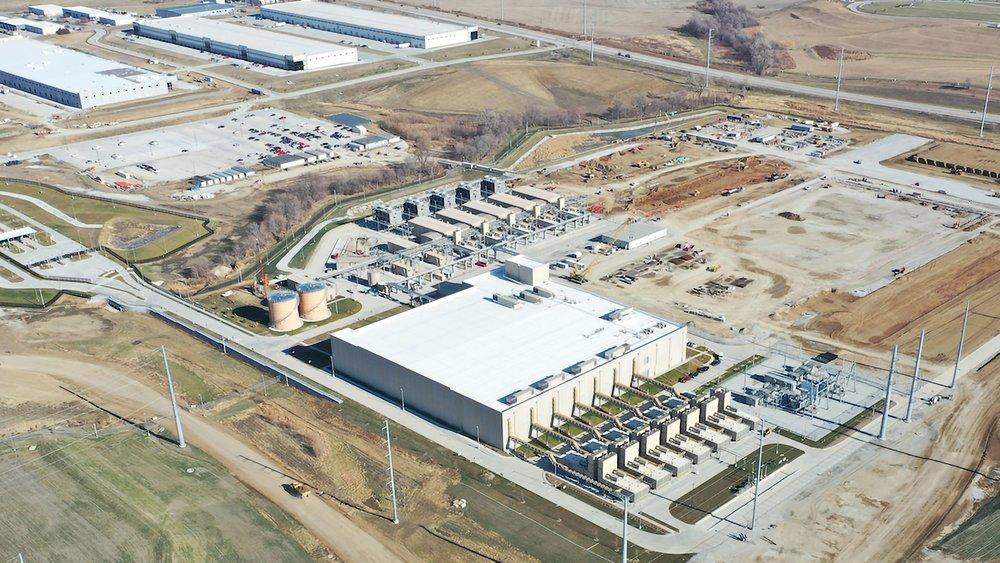 An aerial photo of a Google data center