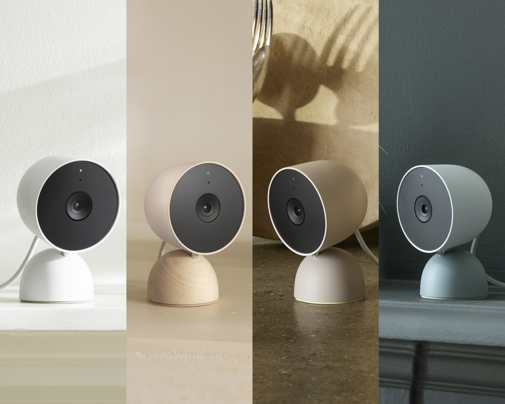 The new Nest Cam in four colors: Snow, Sand with maple wood base, Linen, and Fog